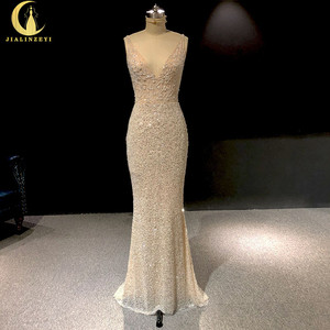 Image 1 - Rhine real Pictures Deep V Neck Sexy Full Beads Crystal Mermaid Champagne Formal dress prom dresses arabic evening dresses long
