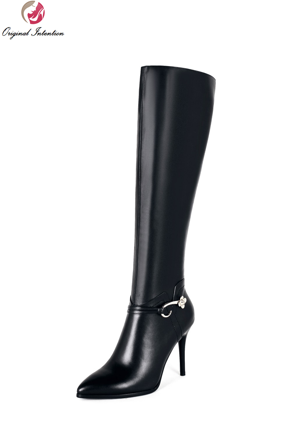 Original Intention Elegant Women Knee High Boots Nice Pointed Toe Thin Heels Boots Beautiful Black Shoes Woman US Size 3-10.5 original intention nice fashion women knee high boots round toe square heels boots beautiful black shoes woman us size 3 5 13