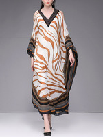 Women loose style summer beach dress tiger skin print cut out cold shoulder sexy dresses long robe caften V neck 2019 new