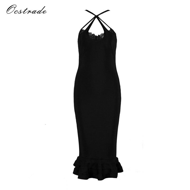 Ocstrade женское платье 2018 новые летние Стиль Черный Русалка Кружево Бандажное платье Сексуальная Bodycon Платья для женщин