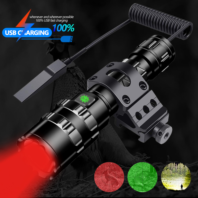 Hunting Flashlight Professional Tactical LED Flashlight USB Rechargeable Waterproof Torch Red/Green/ White L2 Scout Light