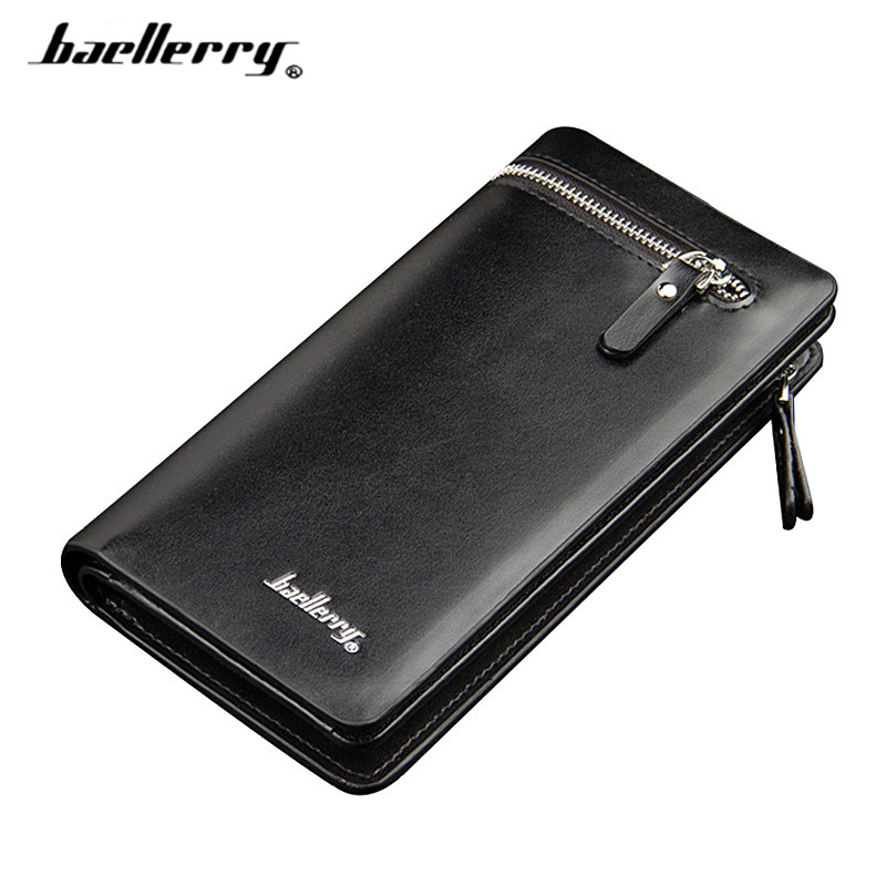 Brand Designer Men Long Wallets with Phone Pocket Photo Card Holder Fashion Zipper&Hasp Black Clutch Bag Male Wallet feidikabolo brand zipper men wallets with phone bag pu leather clutch wallet large capacity casual long business men s wallets