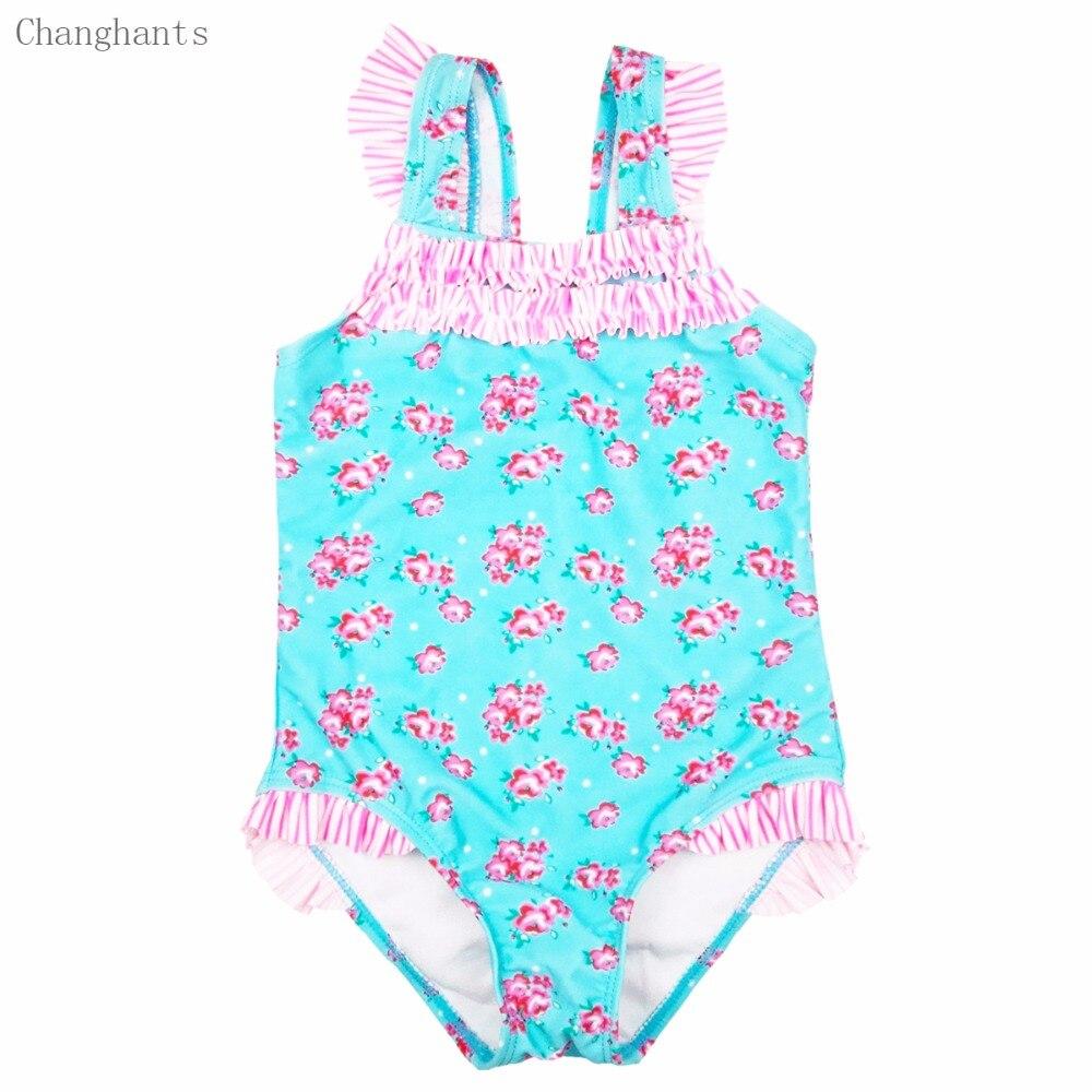 Dziewczęce stroje kąpielowe Jasnoniebieski z różowym kwiatowym - Ubrania sportowe i akcesoria - Zdjęcie 1