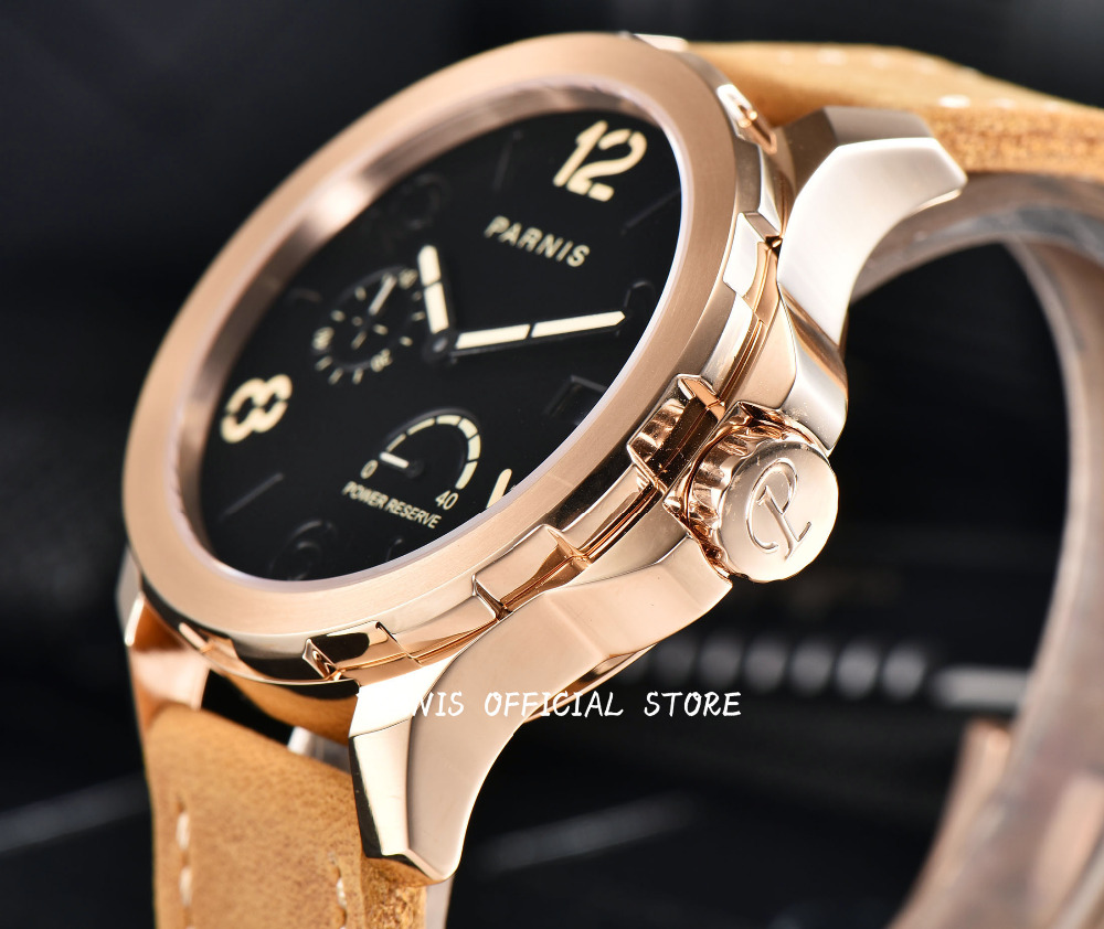 2017 Issue Mens Automatic Watch Parnis 44mm Steel Gold Case Brown Leahter Sapphire Luminous Date Power Reserved Mechanical Watch men mechanical watch parnis 44mm power reserved steel silver case purse leather sapphire luminous date automatic self wind watch