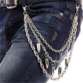 "Three Strand Bullet Pendant Classic Biker Trucker Key Jean Wallet Chain (25"") Hip Hop Silver Metal 3 Layers Jean Pant Chain KB12"