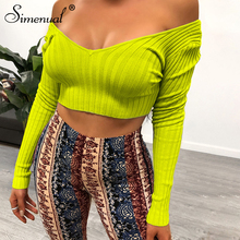 Simenual Sexy Ribbed Women Long Sleeve T Shirts Solid Basic Off Shoulder Tees Hot Slim 2019 Autumn Fashion Crop Top V Neck Mujer