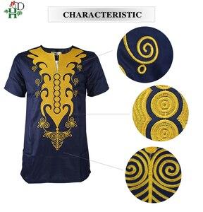 Image 4 - H & D african dashiki t shirt für männer kurzarm herren shirts traditionelle afrikanische bestickte tops gold dark blau kleidung 2020