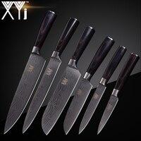 XYj высокое Класс Нержавеющаясталь Ножи комплект Цвет деревянная ручка Дамаск узор Sharp острый нож инструменты для приготовления пищи