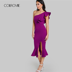 Image 3 - COLROVIE Purple Ruffle One Shoulder Slit Sexy Dress Women 2018 Autumn High Waist Sleeveless Party Dress Elegant Long Dresses