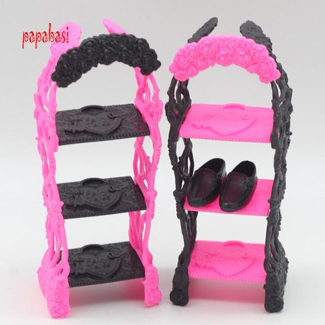 Kids Playhouse Shoes Rack For Barbie Doll Storage Racks Monster High Dolls Furniture