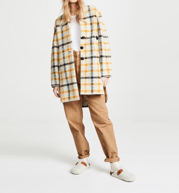 Blanc Col Mode Unique Poches 2018 Plaid Jaune V Rouge Manches Femme Poitrine Longues Automne Manteau Avec Gabrie Laine Xqqvp