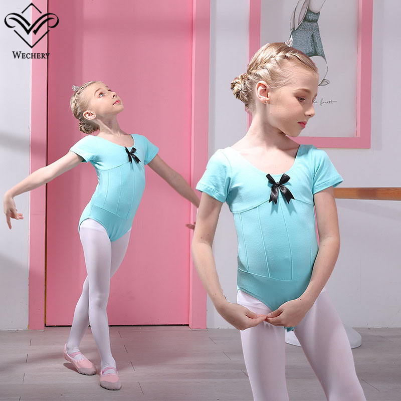 Wechery Gymnastics Girls Leotards Dancing Clothes for Kids Short Sleeve Cute Cotton High Quality Dance Wear 2018 New Hot Sale