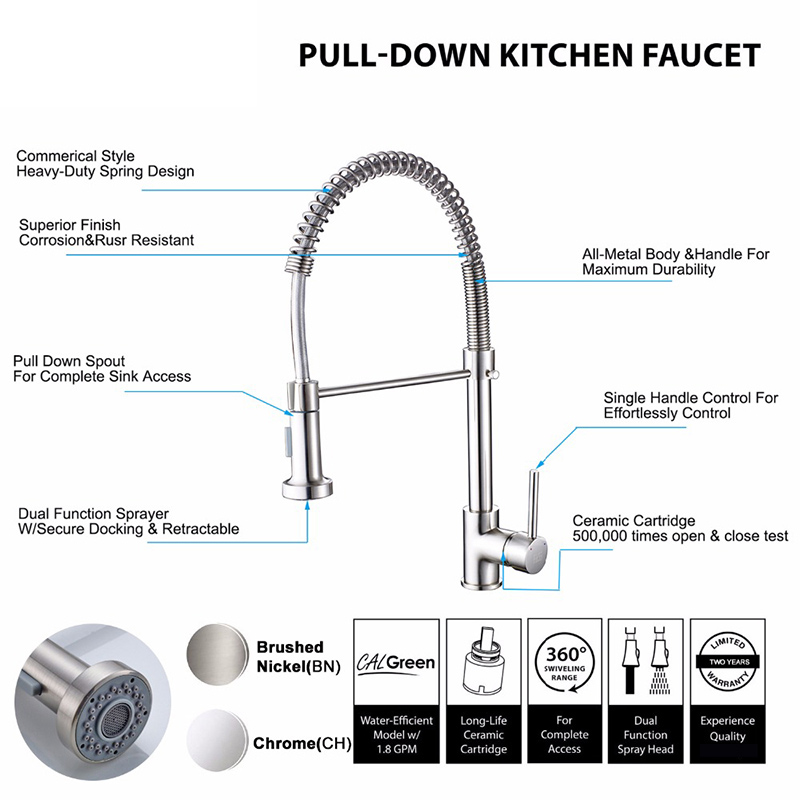 Küche Armaturen Gebürstet Nickel Wasserhahn Ziehen Torneira All Around Drehen Swivel 2-Funktion Wasser Outlet Mixer Tap