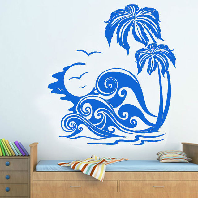 sea waves and palm trees beach wall sticker bedroom vinyl art decal
