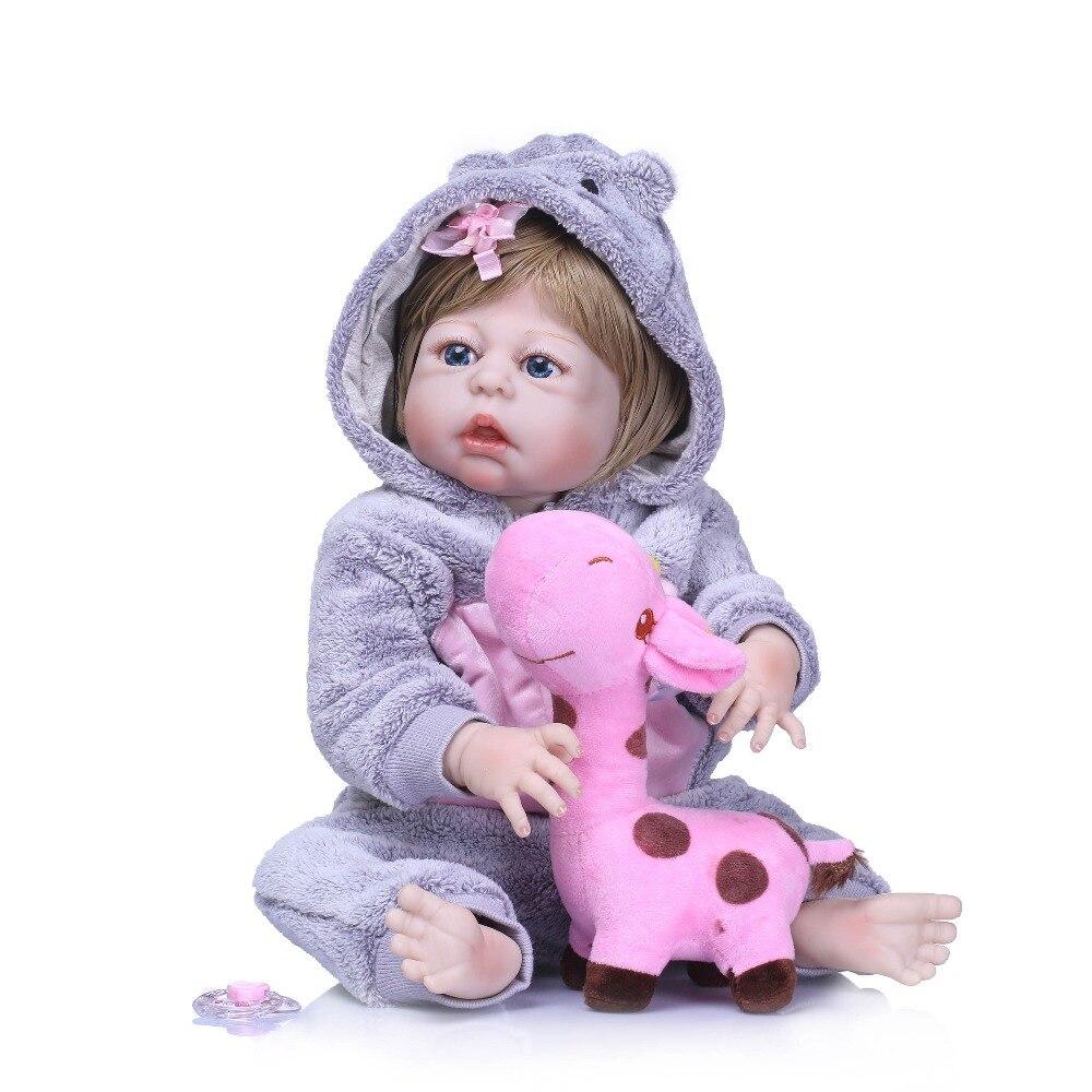 NPKCOLLECTION Bebe 55 cm corps entier Silicone Reborn bébé poupées réelles jouets réaliste fille poupée enfant cadeau d'anniversaire Bonecas Brinquedos