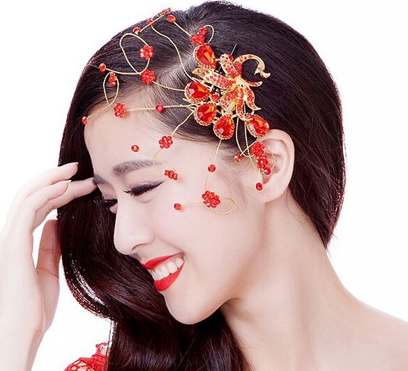 Vintage Fashion Red Rhinestone Peacock Wedding Hair Accessories Comb Style Bridal Hair Jewelry in Hair Jewelry from Jewelry Accessories