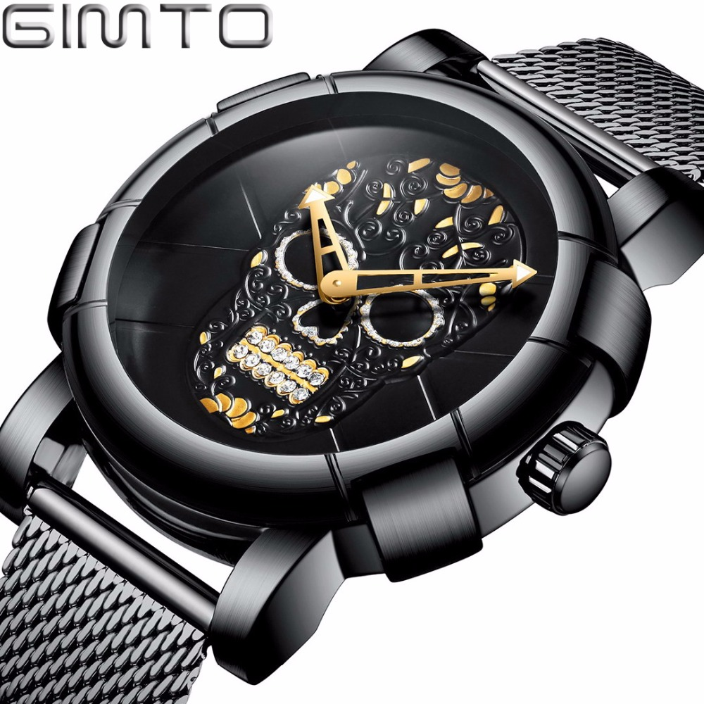 GIMTO 2018 De Luxe Crâne Hommes Black Watch Or Marque Creative Quartz Mâle Garçon Poignet Casual Montres Sport Horloge Relogio Masculino