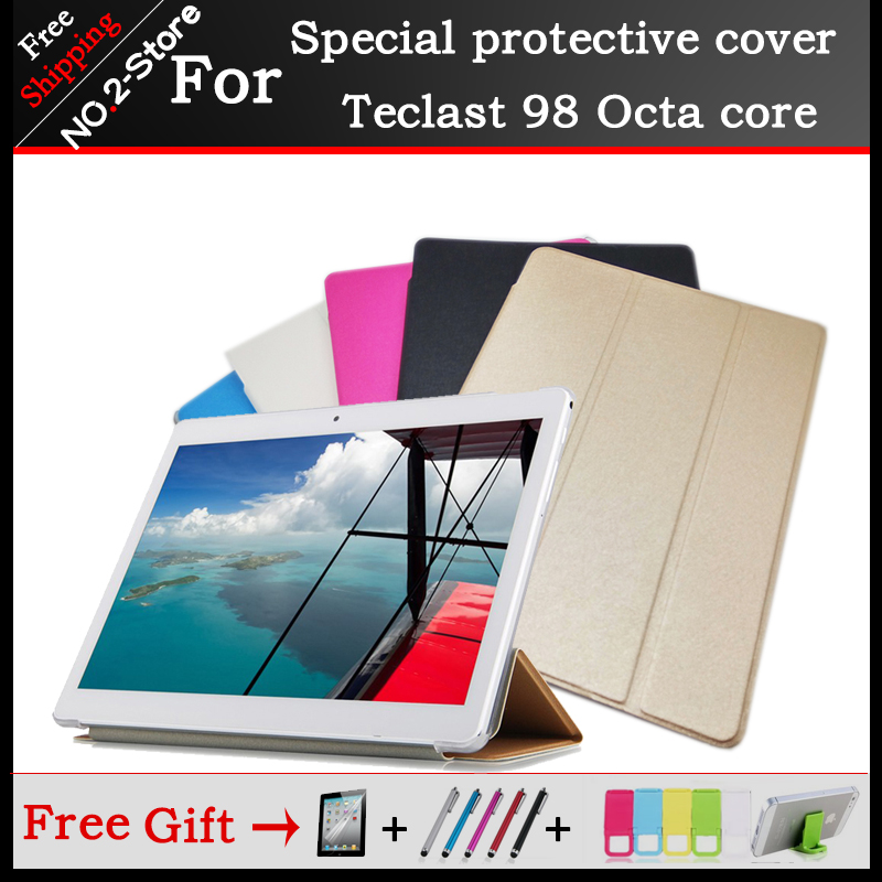 Ultra thin 3 fold Folio PU leather stand cover case For Teclast 98 Octa core 10.1inch tablet pc ,Five color optional+gift fashion 2 fold folio pu leather stand cover case for teclast x10 quad core 98 octa core 10 1inch tablet pc