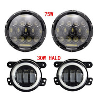 7INCH 75W 7'' LED Headlight DRL High Low Dual Beam and 4 inch led fog light Driving lamp for Jeep Wrangler JK Hummer
