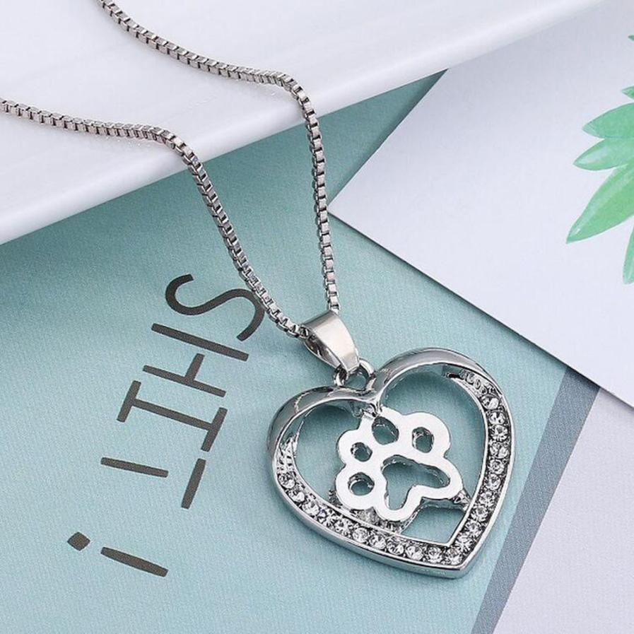 snowshine YLWX Necklace For Women Personalized Fashion Jewelry Crystal Rhinestone Dog Paw free shipping