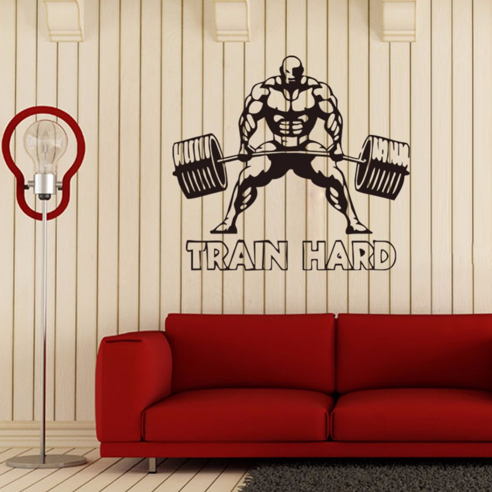 Customized weightlifting sports wall stickers kids room living customized weightlifting sports wall stickers kids room living room boys bedroom wall painting sofa tv bedside background decals in wall stickers from home amipublicfo Image collections