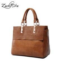 ZackRita Weibliche Vintage Echte echtem Leder Tote Handtasche Frauen Messenger Bag Damen Hohe Qualität Umhängetaschen Bolsa Feminina