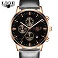 Mens Relojes de Moda Casual Sport Reloj de Cuarzo Hombres Chronograp Reloj de Cuero del Hombre de Negocios reloj de Pulsera Relogio masculino LIGE