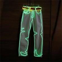 2015 Бесплатная доставка LED Одежда для танцев Для Мужчин Светящиеся Костюмы EL Провода свет Брюки для девочек танцевальный костюм