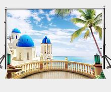 7x5ft Natural Scenery Backdrop Coconut and Sea Style Background Observation Deck Photography