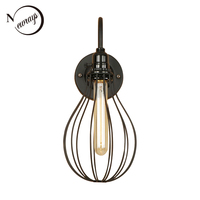 Industrial modern iron black wall lamp retro wall light LED E27 with 2 styles for pathway aisle corridor bedroom washroom cafe