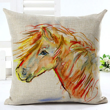 2016 New Arrival High Quality Horse Home living Cotton linen Decorative Pillow Throw Pillow Square Cojines