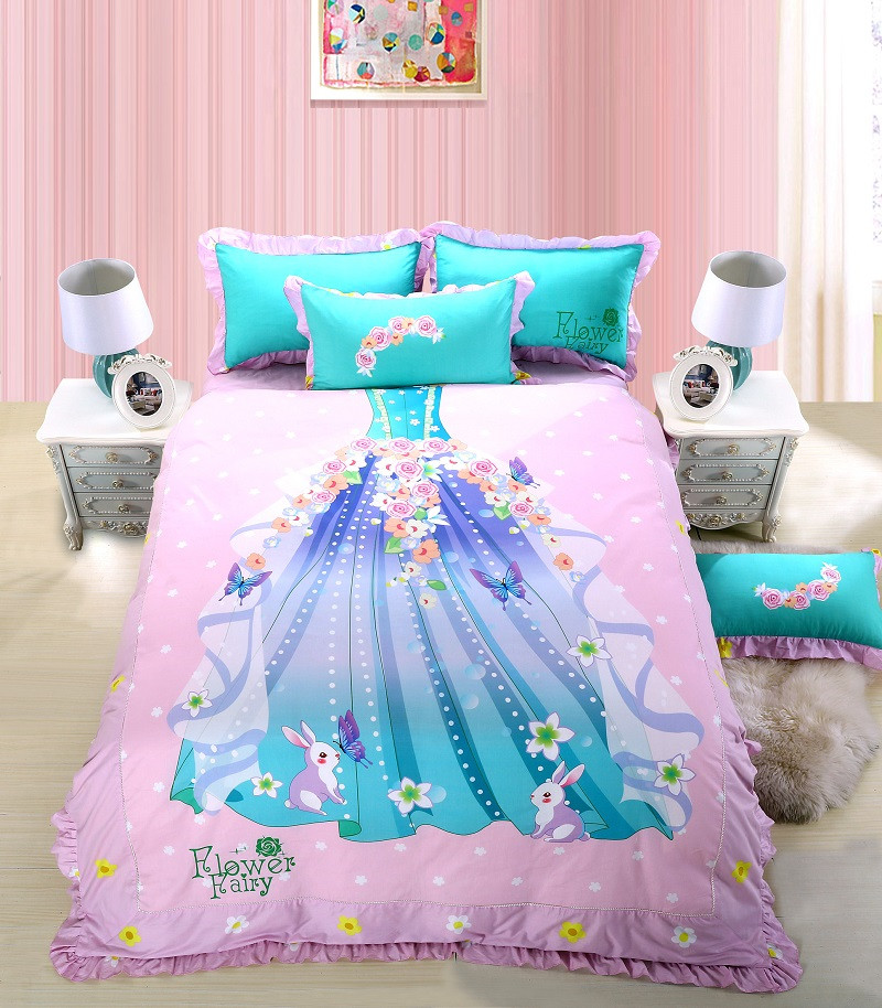 100% Cotton Princess Skirt Cartoon Bedding set Queen Single Twin size Kids Girls Fitsheet Bedsheet set Duvet cover Pillow shams100% Cotton Princess Skirt Cartoon Bedding set Queen Single Twin size Kids Girls Fitsheet Bedsheet set Duvet cover Pillow shams