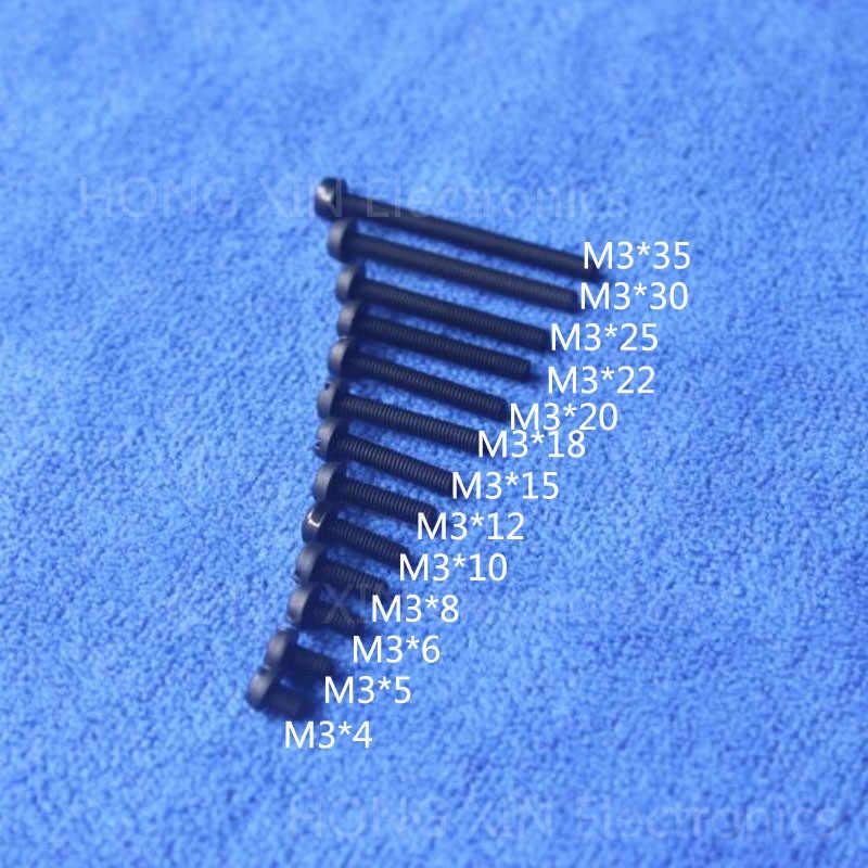 M3 * 4/5/6/8/10/12/15/18/20/ 22/25/30/35 Hitam 1 Pcs Nilon Kepala Bulat Philips Sekrup Plastik Isolasi Baut PC/ papan DIY Sekrup