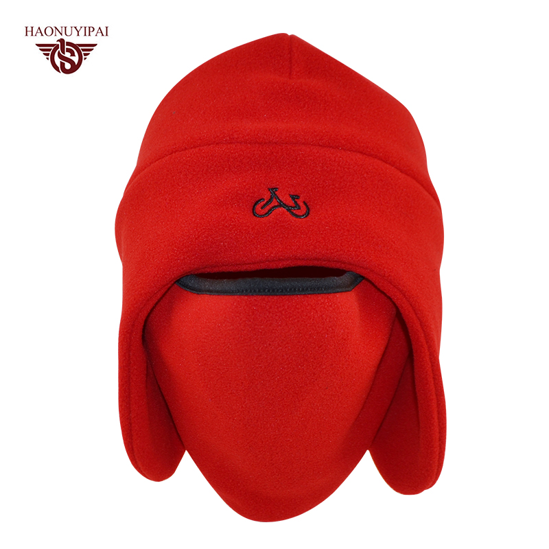 Winter Cotton Feelee Hats For Uni Warmer Skullies Windproof Thermal Balaclava Mask Caps Outdoor Ear Beanies 4 Colors  HE002