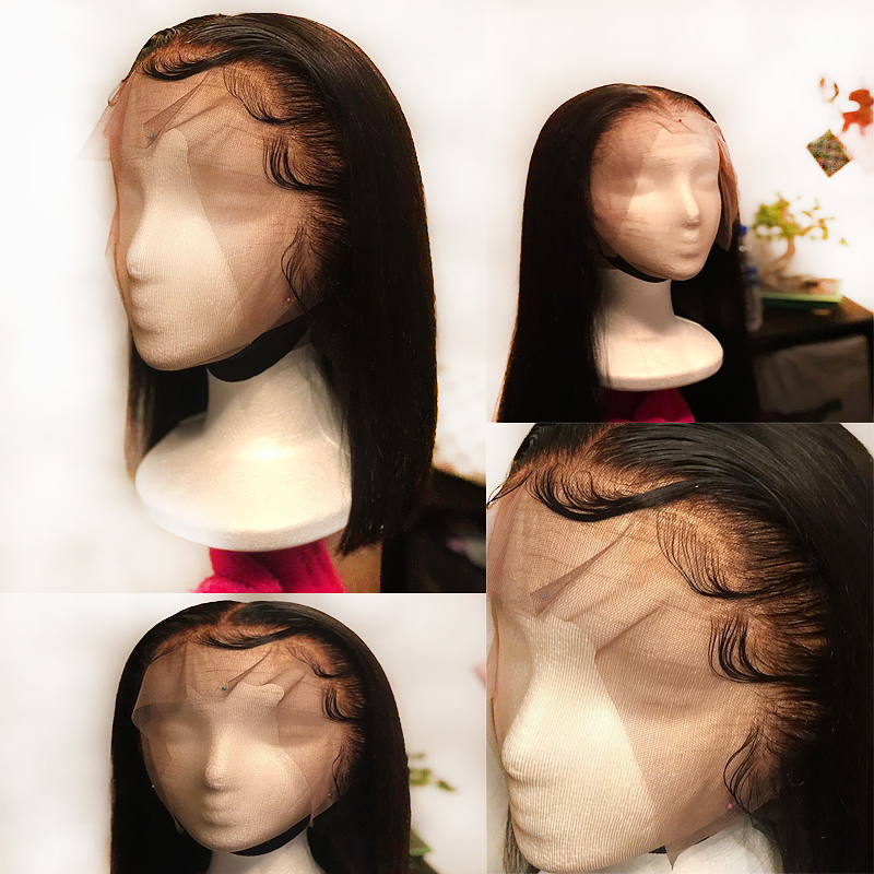 13 6 Invisible Lace Front Straight Black Real Human Hair Wig For Women Remy Brazilian Pre