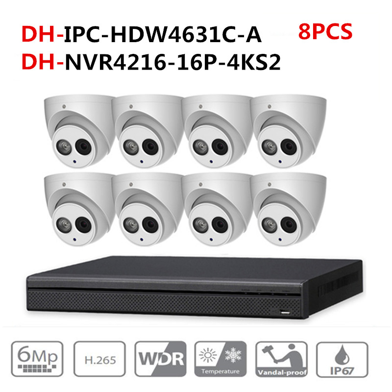DH CCTV Surveillance camera System 8PCS 6MP IP Camera IPC-HDW4631C-A & 16POE 4K NVR NVR4216-16P-4KS2 Surveillance P2P System