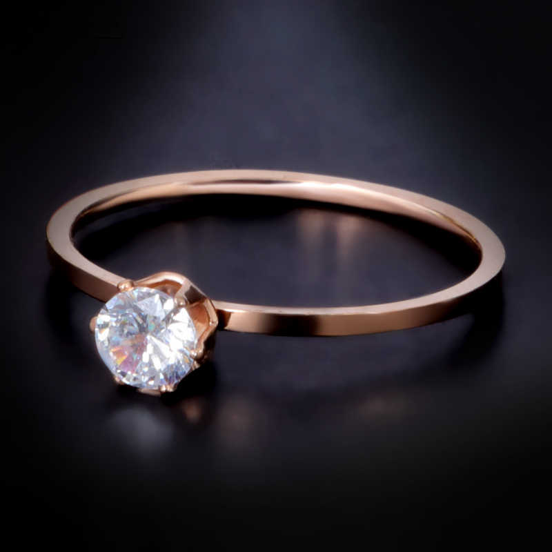 FYSARA Stainless Steel Wedding Ring Rose Gold Color 1mm Thin Single Crystals Rings Finger Tail Ring For Women Jewelry Wholesale