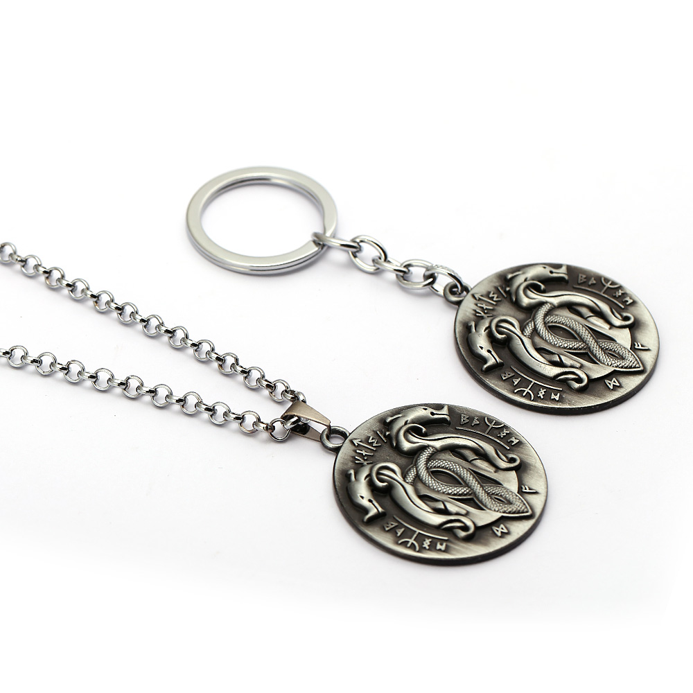 God of War 4 Keychain Serpent Frescoes Totem Logo Round Metal Key Holder Game Personalized Keychain Fashion Men Chaveiro HC12839