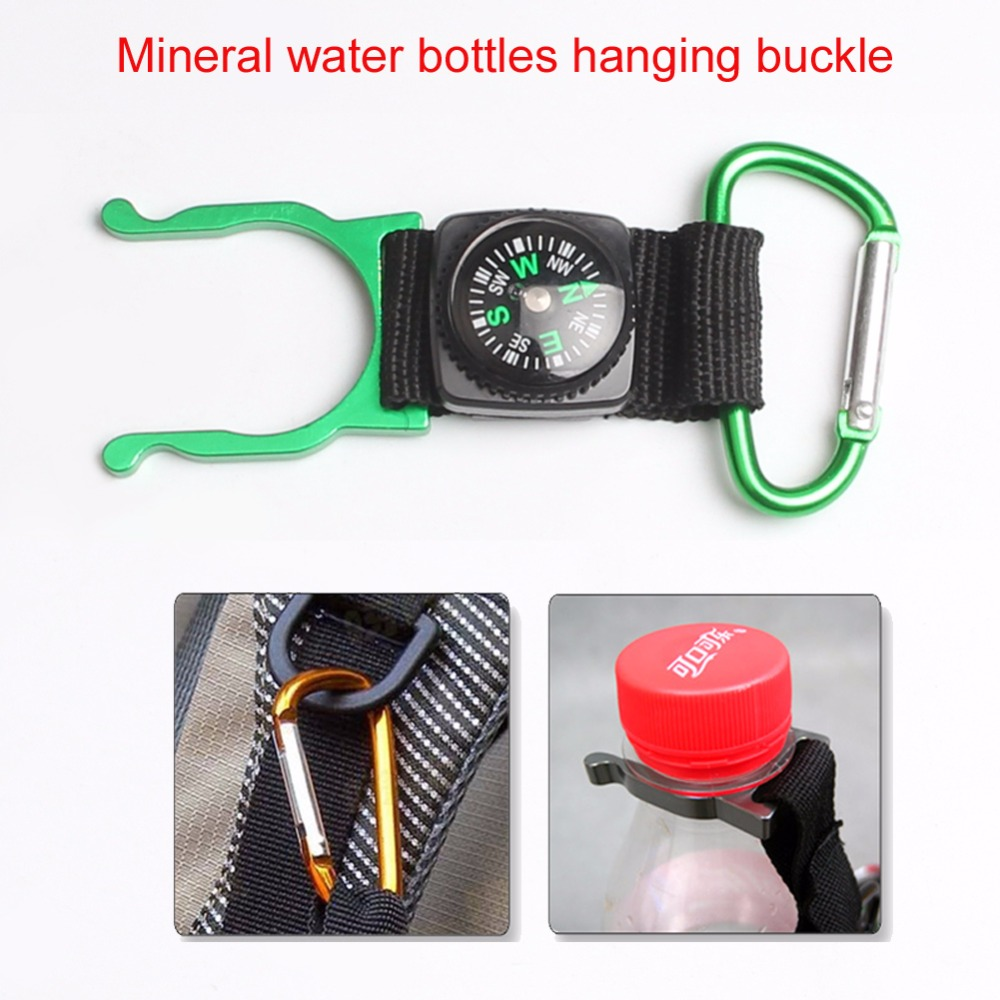 2 pcs/lot Outdoor Climbing Free your Hands Essential Mineral Water Bottles Hanging Buckle With Copass Travel Kit 21-0022 ...