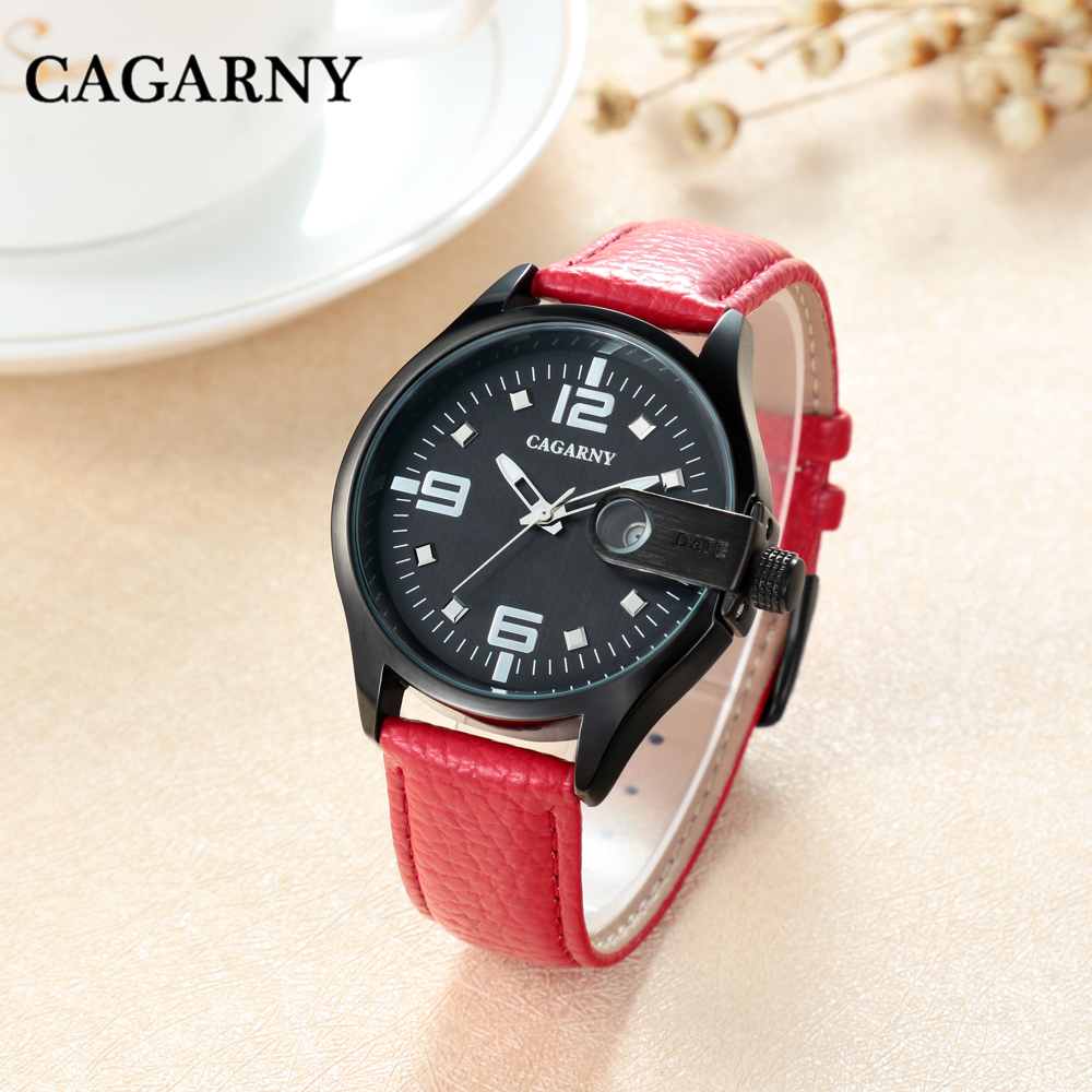 CAGARNY Women's Quartz Watch Automatic Date Fashion Luxury Trend Retro Girl Leather Strap High Quality Japanese Movement Relogio