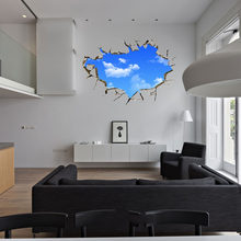 New Creative Blue Sky 3D Sticker Stereo Ceiling Living Room Bedroom Wall Stickers PVC Blue 50*70cm Non-Toxic dropshipping 2017(China)