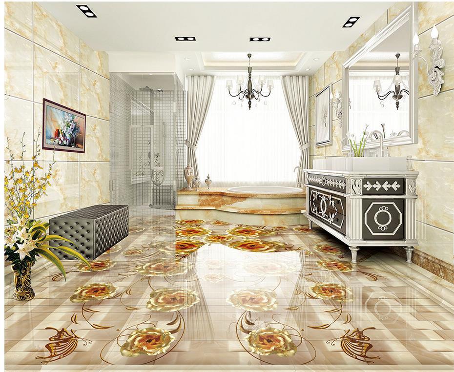 Papier peint personnalisé de plancher de photo de marbre rose d'or 3d Photo personnalisée auto-adhésif 3D plancher imperméable de PVC