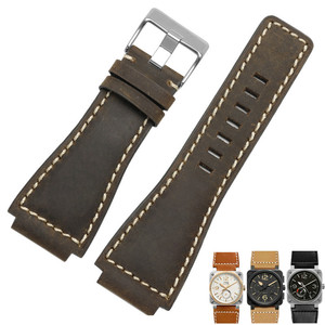 Image 5 - 33*24mm Convex End Italian Calfskin Leather Watch Band For Bell Series BR01 BR03 Strap Watchband Bracelet Belt Ross Rubber Man