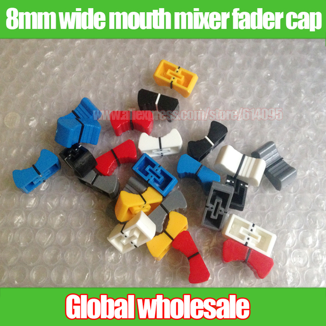 100pcs wide mouth mixer fader cap / Slide potentiometer fader button knob to disc players / 8mm bore blue red yellow black white