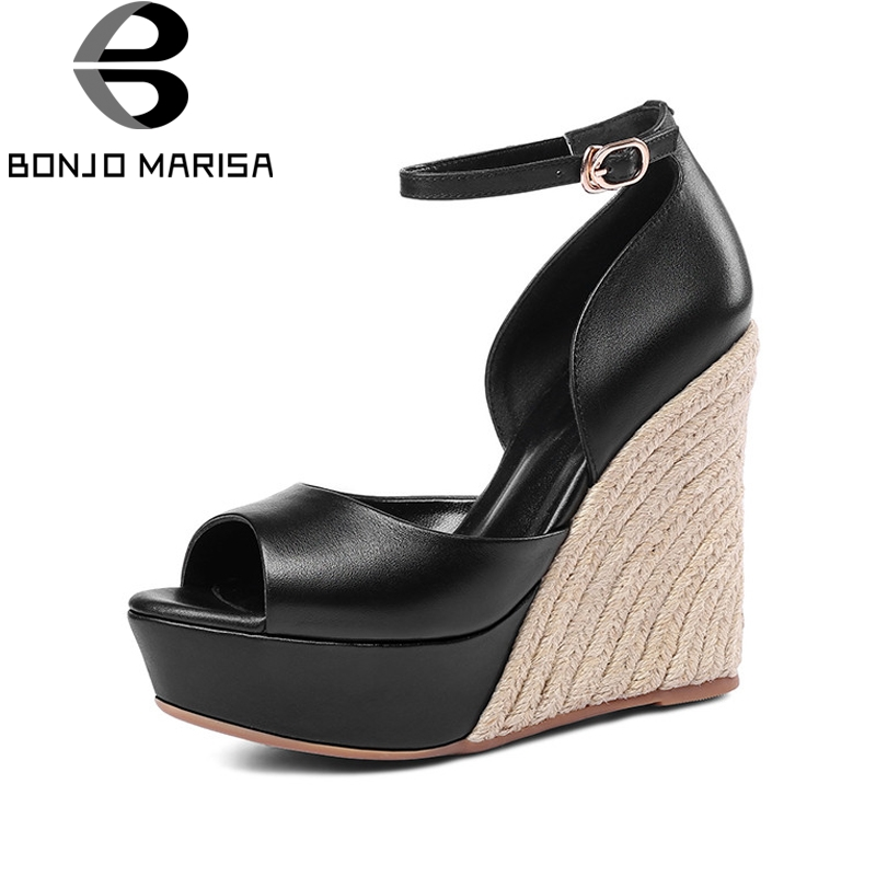 BONJOMARISA New women's Genuine Leather Wedges High Heels Ankle Strap Platform Shoes Woman Casual Comfortable Summer Sandals woman fashion high heels sandals women genuine leather buckle summer shoes brand new wedges casual platform sandal gold silver
