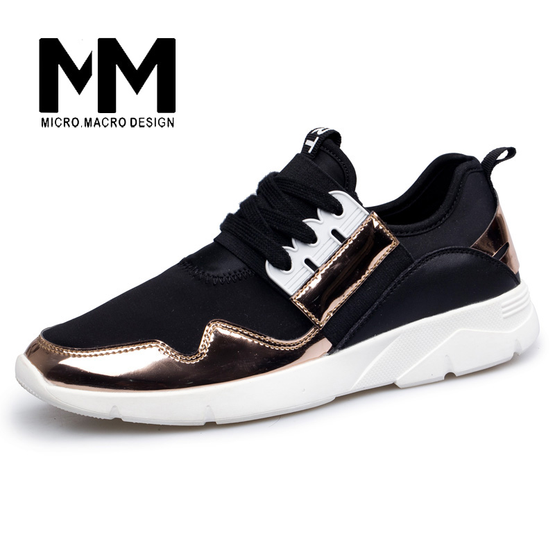 MICRO. MACRO Gold Men  Casual Shoes Brand shoe Footwear high top Fashion Breathable  Elastic band  Walking Casual Shoe 1063 micro micro 2017 men casual shoes comfortable spring fashion breathable white shoes swallow pattern microfiber shoe yj a081