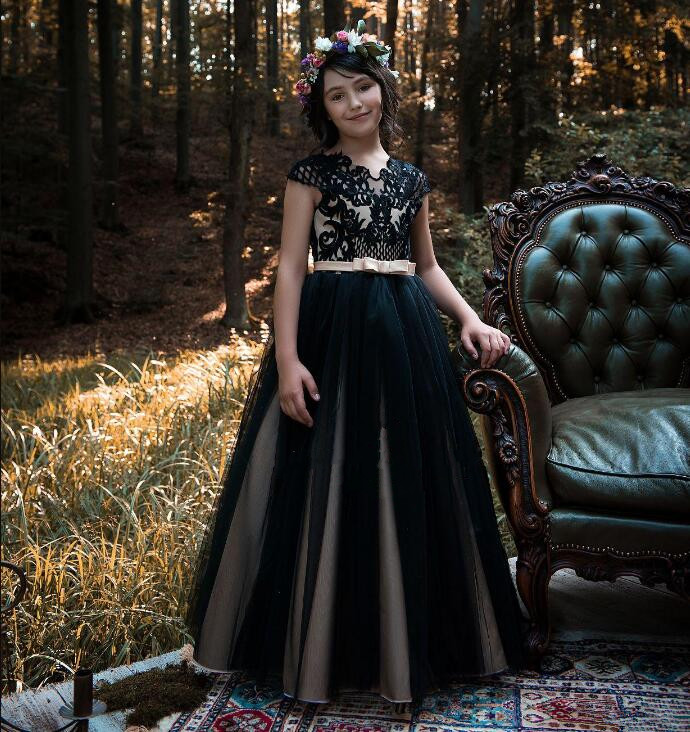 Navy Blue Flower Girls Dresses for Teens Capped Sleeves Lace Tulle Ankle Length Girls Pageant Gowns Birthday Dress Custom Made starch capped gold nanoparticles for catechol biosensor