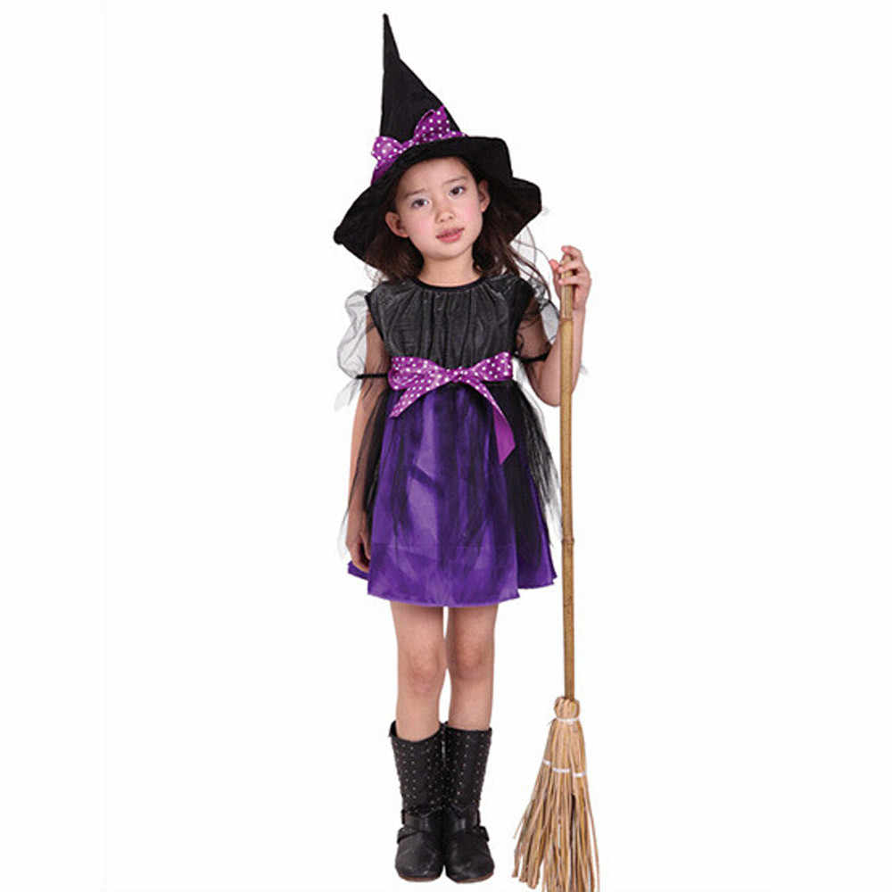 2019 New Arrival Halloween Party Children Kids Cosplay Witch Costume For Girls Halloween Costume Party Witch Dress With Hat #30