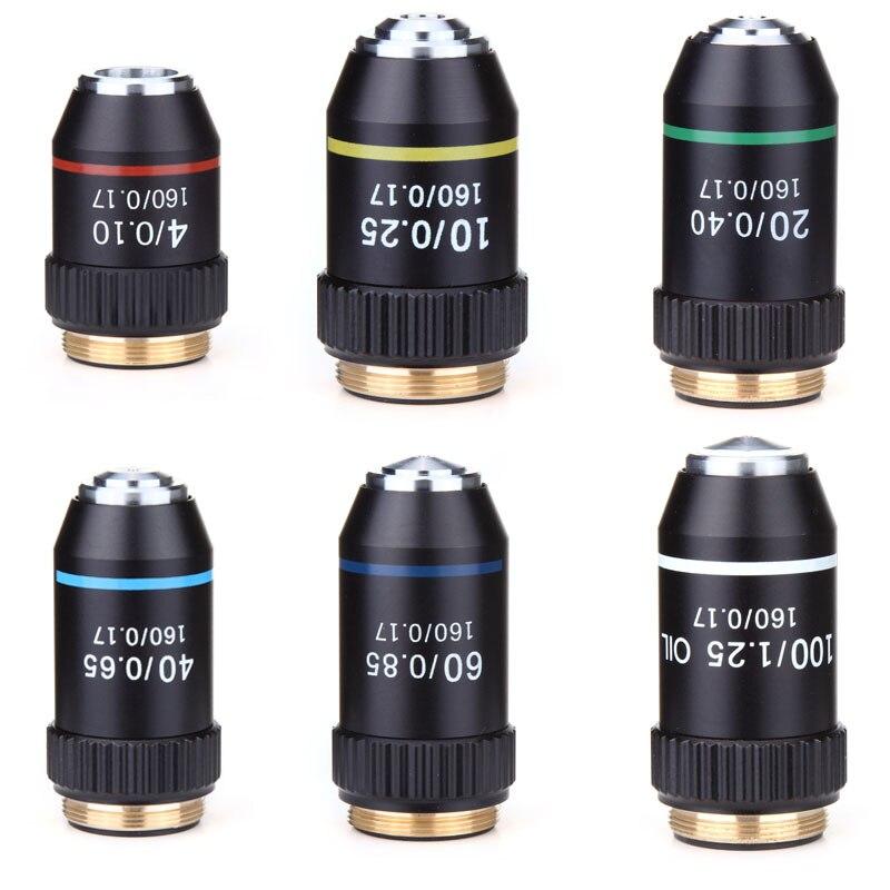 195 черный ахроматический объектив 4X 10X 20X 40X 60X 100X Высококачественный объектив микроскопа RMS 20,2 мм объективные детали