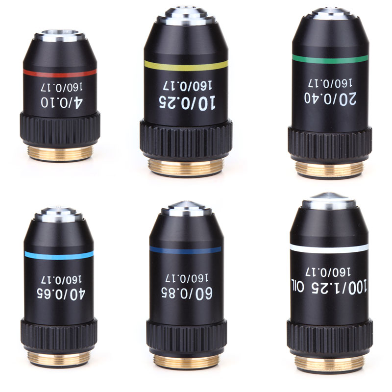 195 Black Achromatic Objective 4X 10X 20X 40X 60X 100X High Quality Microscope Objective Lens RMS 20.2mm Objective Parts
